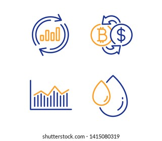 Bitcoin exchange, Money diagram and Update data icons simple set. Oil drop sign. Cryptocurrency change, Currency diagram, Sales chart. Serum. Business set. Linear bitcoin exchange icon. Vector