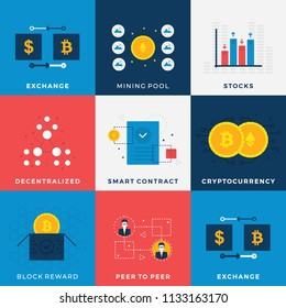 Bitcoin Exchange, Peer to Peer Payment, Decentralized Blockchain,  Bitcoin Block Reward, Coin in Box, Ethereum, Stock Market Cryptocurrency Trading, Bitcoin Mining Pool, Ethereum Smart Contract