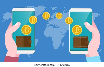 Bitcoin exchange and transfer Hand holds smart phone with send bitcoins into mobile phone on worlds map background Vector modern flat illustration cryptocurrency technology