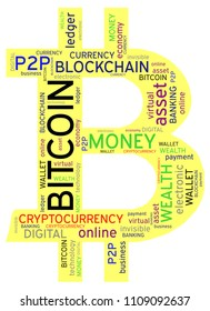 Bitcoin is a famous cryptocurrency which is invisible. Transactions occur via digital electronic data transfer. The word cloud highlights many concepts and terms regarding cryptocurrencies.
