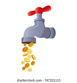 Bitcoin faucet. water tap with coins