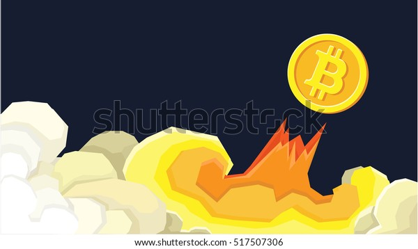 Bitcoin financial system grows. Crypto currency hype vector illustration with blank space