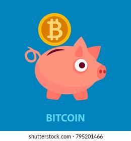 Bitcoin flat concept. Vector illustration. Element template for design.