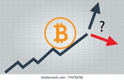 Bitcoin forecast infographic concept - up or down. Vector.