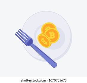 Bitcoin Fork icon. Vector illustration style is a flat iconic bitcoin fork symbol with plate. Designed for web and software interfaces.