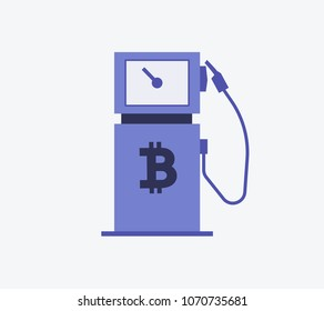 Bitcoin Gas Station symbol Vector illustration style is flat icon symbols in blue color
