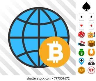 Bitcoin Global pictograph with bonus gambling symbols. Vector illustration style is flat iconic symbols. Designed for gamble gui.