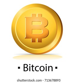 Bitcoin. Gold coin with cryptocurrency logo. Vector illustration isolated on white background.