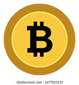 Bitcoin gold coin. Bitcoin symbol in gold coin with a white background for graphic designer logos and web pages. Vector illustration.