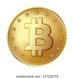 Bitcoin golden coin. Money and finance symbol for fintech net banking and blockchain concept. Vector detailed realistic illustration isolated on a white background.