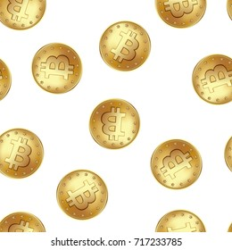 Bitcoin golden coin seamless pattern. Golden rain of flying and falling coins. Money and finance symbol for fintech net banking and blockchain concept. Vector illustration isolated on white background