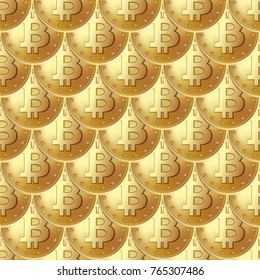 Bitcoin golden coin seamless pattern. Coins placed in a ripple, fishscale order. Money and finance symbol for fintech net banking and blockchain concept. Vector illustration isolated on a white.