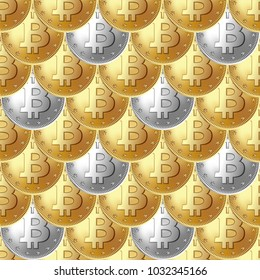 Bitcoin golden, silver coin seamless pattern. Rain of coins placed in ripple, fish scale solid order. Money and finance symbol for fintech net banking and blockchain concept. Vector illustration.
