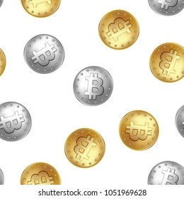 Bitcoin golden and silver coin seamless pattern. Randomly flying and falling coins. Money and finance symbol for fintech net banking and blockchain concept. Vector illustration isolated on a white.