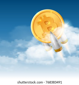 Bitcoin grows. Digital currency. Cryptocurrency. Golden shiny coin with bitcoin symbol fly up on clouds background. Virtual money concept. Vector illustration.