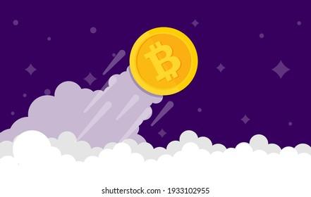 Bitcoin growth concept. Vector illustration