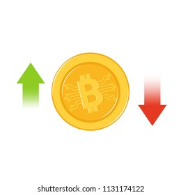 Bitcoin growth and fail concept vector.