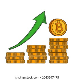 Bitcoin growth and increase stock vector image, digital currency, cryptocurrency money, bitcoin symbol. Doodle and engraved style illustration, hand drawn. Isolated on white background.