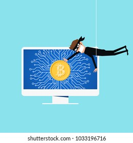 Bitcoin hacked concept of Crypto currency. Man hacking online system to get bitcoin useful for anti phishing and internet viruses campaigns. concept hacking internet social network. Cartoon Vector