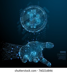 Bitcoin in the hand palm low poly wireframe. Vector polygonal image in the form of a starry sky or space, consisting of points, lines, and shapes in the form of stars with destruct shapes