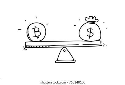 bitcoin icon doodle