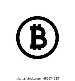 Bitcoin icon on white background. Vector image.