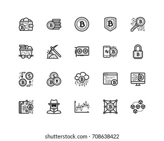 Bitcoin icon set, outline style