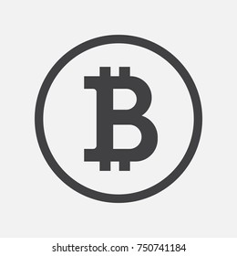 Bitcoin icon, vector sign, payment symbol, coin logo. Crypto currency, virtual electronic, internet money. Black emblem isolated on white. Cryptocurrency e-commerce concept