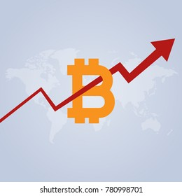 Bitcoin index rating go up on exchange market. Red arrow crosses the logo. The bitcoin rate is growing on the background of the world map. Vector illustration.