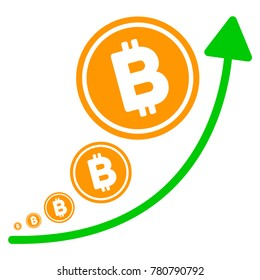 Bitcoin Inflation Trend flat vector pictogram. An isolated illustration on a white background.