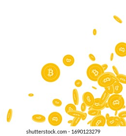 Bitcoin, internet currency coins falling. Scattered floating BTC coins on white background. Charming scattered bottom right corner vector illustration. Jackpot or success concept.