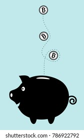 Bitcoin investment concept. Bitcoins dropping into a happy piggy bank.