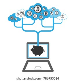 Bitcoin investment concept. Bitcoin funds transferring from the Cloud to the internet piggy bank.