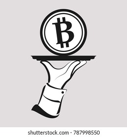 Bitcoin investment concept. Waiter's hand serving a large Bitcoin.