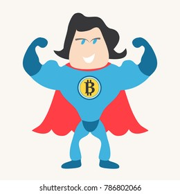 Bitcoin investment concept. Man in superhero costume with Bitcoin design.
