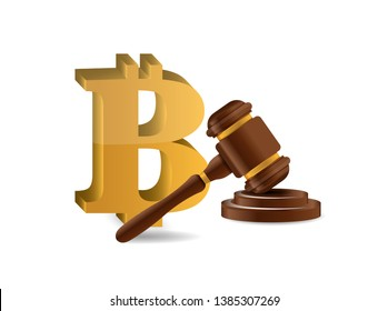 Bitcoin and judge hammer. isolated over a white background