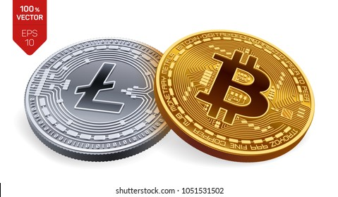 Bitcoin. Litecoin. 3D isometric Physical coins. Digital currency. Cryptocurrency. Silver coin with Litecoin symbol and golden coin with bitcoin symbol isolated on white background. Vector illustration