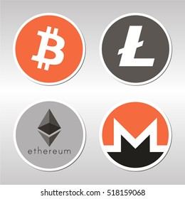 BITCOIN, LITECOIN, ETHEREUM, MONERO: World electronic money sign. Crypto currency coin lable, sticker.
