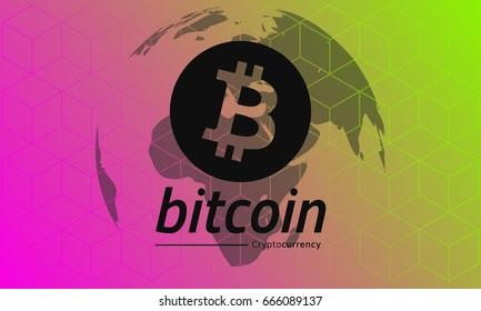 Bitcoin logo black. Red-green gradient background.  Eps10 Vector.