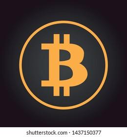 Bitcoin logo in circle with dark background.