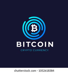 Bitcoin logo concept. Cryptocurrency sigh. Digital money. Blockchain, finance symbol. Vector illustration.