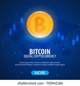 Bitcoin logo and emblem. Digital cryptocurrency. Technology banner