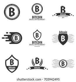 Bitcoin logo and emblem. Digital cryptocurrency. Technology emblem