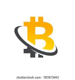 Bitcoin logo icon with swoosh graphic element