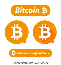 Bitcoin logo sign button set