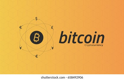 Bitcoin logo and signs of other currencies with exchange lines. Bitcoin remittance.  Editable eps10 Vector.