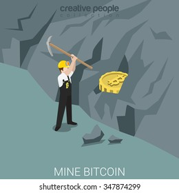 Bitcoin miner mine process flat 3d isometry isometric concept web vector illustration. Worker with pick peck bit coin from mountain ore. Creative people collection.