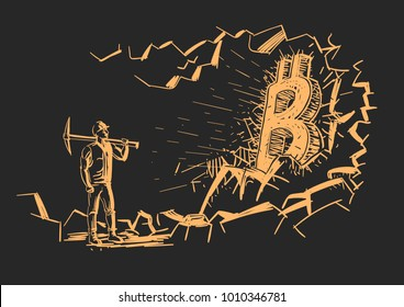 Bitcoin miner near bitcoin mined from rock. Hand drawn. Vector.