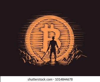 Bitcoin miner standing with pick axe near big bitcoin coin. Vector.