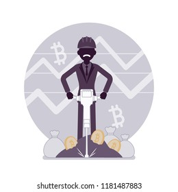 Bitcoin minig man business. Businessman with jackhammer creating, discovering bitcoin currency, obtaining money. Vector flat style and line art cartoon illustration, black silhouette